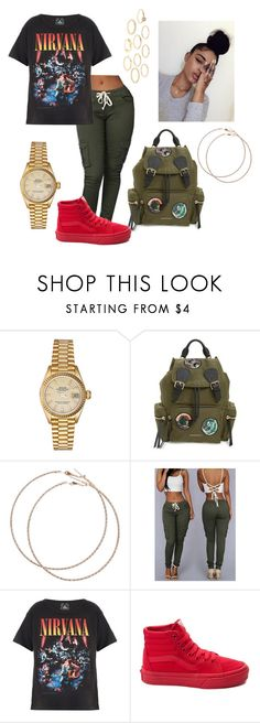 """""""Nirvana☺"""" by lovvveeeeee ❤ liked on Polyvore featuring Rolex, Burberry, Wet Seal, Trunk LTD, Vans and Charlotte Russe"""