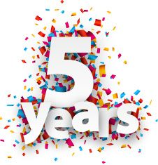 Five years paper confetti sign vector art illustration