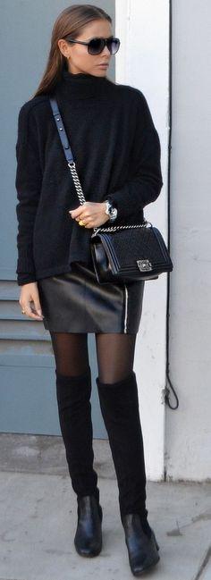 Maria Kragmann Black From Head To Toe Fall Street Style Inspo #Fashionistas