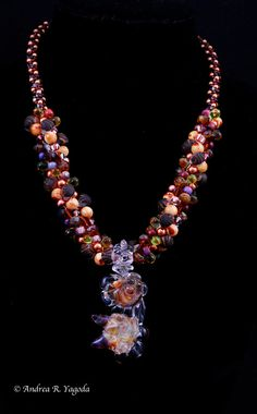 Boro Lampwork Focal Bead Kumihimo Necklace.  WOW! Apparent chaos, but in fact carefully planned. Standing ovation