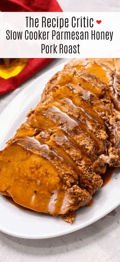 Parmesan Honey Pork Roast is a tender pork roast slow cooked in a sweet and savory sauce that has parmesan, honey, soy sauce and seasonings. Cooking Pork Roast, Pork Roast Recipes, Slow Cooker Roast, Pork Tenderloin Recipes, Crock Pot Slow Cooker, Crock Pot Cooking, Slow Cooker Recipes, Crockpot Recipes, Cooking Recipes