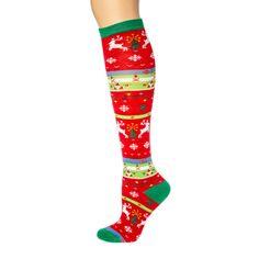 Striped Christmas Pattern Knee Socks