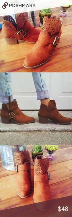 //The Aria// Chestnut cutout ankle booties Brand new Never been worn  Comes in original box No trades Many more sizes Available  Price is Firm!! Shoes Ankle Boots & Booties