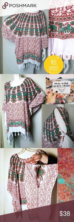 39ea6067c7 Boho Unique Swim Cover Up Tunic Free Size Artisan This is a Beautiful One  of a