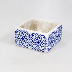 Flormania . Base Cerâmica Rectangular com padrão de azulejo para arranjos florais