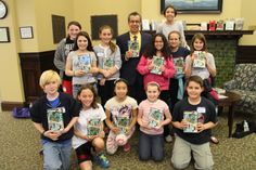 Chris Grabenstein with the Mr. Lemoncello: A Night at the Library winners