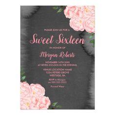 #Pink Rose Black Paint Splash Sweet 16 Invite - #sweet16 #invitations #sixteen #birthday #sweetsixteen #party #bday #birthdayparty