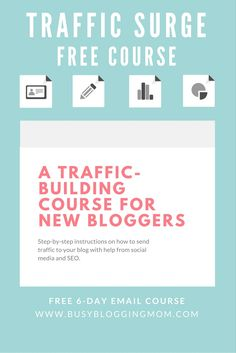 Do you have a social media strategy? Need tips? Drive traffic to your site with the help from this free 6-day email course. Bloggers and entrepreneurs learn how to increase page views with the use of various social media and SEO strategies.