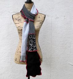 Recycled Sweater Scarf Recycled Clothing Upcycled Earth Friendly Red Grey Black Doodle Stitch Scarf by ThankfulRose on Etsy