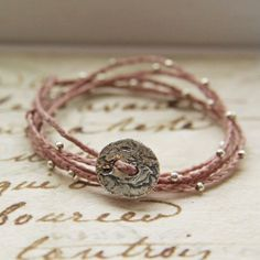 Image of Rose waxed Irish Linen Sterling Silver Quintuple Wrap Bracelet or Necklace
