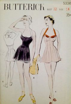 Butterick 5334 1940s Bathing Suit Halter Neckline Sz14/32 new FF 79.76+free 13bds 7/29/14   Princess fit with bra top & flared skirt.Halter neck bands & facing in contrast to accent the neckline. Swimsuit is lined & has attached trunks. 11pcs