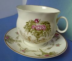 Old USSR Russian LFZ High Quality Imperial Porcelain Pair Cup & Saucer Lomonosov #LFZ