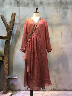 V-neck Ethnic Embroidery Long Cardigan Vintage Clothes