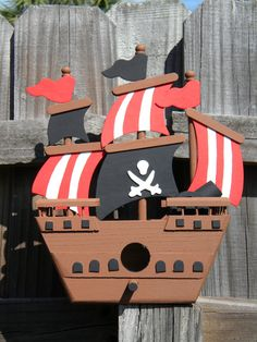 Themed Bird Houses | Pirate Ship Bird House - Pirate themed room or Party Decoration