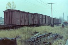When I was a kid in the I watched old box cars like these ones being pushed over on their sides and set on fire to get rid of the woo. Ho Trains, Model Trains, Rock Island Railroad, Logging Equipment, Railroad History, Pennsylvania Railroad, Rail Car, Train Pictures, Rolling Stock