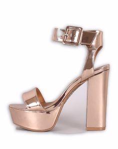 41d5185f17c Just In Sana Rose Gold Metallic Open Toe Chunky Platform Heel Shop Now!   love
