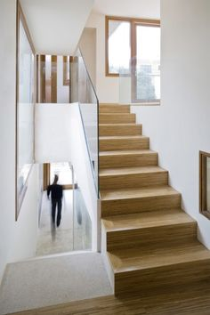 stairs wood glass house white wide architecture archdaily http://www.archdaily.com/289185/ferriol-house-ripolltizon/?utm_source=dlvr.it_medium=twitter