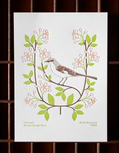 Arkansas ~ Mockingbird & apple blossom (from birds & blooms of the 50 states) #South #Southern #Arkansas