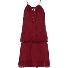 Elizabeth And James Kenji crinkled silk-chiffon dress (1.505 DKK) ❤ liked on Polyvore featuring dresses, vestido, burgundy, shirred dress, ruffle hem dress, boho chic dresses, burgundy dress и red dress