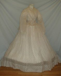 """Graceful 1860's Pink Floral White Window Pane Cotton Dress 