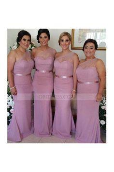 Chiffon Floor Length Pink One Shoulder Trumpet Mermaid Bridesmaid Dress Ob0154