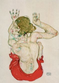 Egon Schiele:Female Nude Seated On Red Drapery, 1914