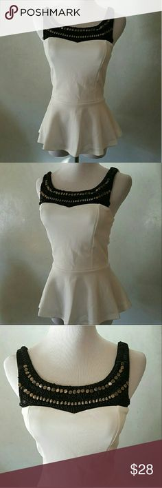 White beaded top NWOT ... White flowie top with beautiful beading and open back Body Central Tops