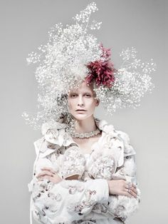 Hair and headpiece by Julien d'Ys, photo by Willy Vanderperre