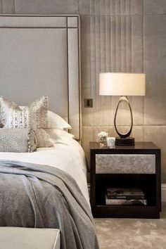 Padded and Upholstered simple padded headboard with stud detailing Master Bedroom Design, Home Bedroom, Bedroom Decor, Gray Bedroom, Bedroom Furniture, Bedroom Ideas, Bedroom Carpet, Master Bedrooms, Bedroom Inspo