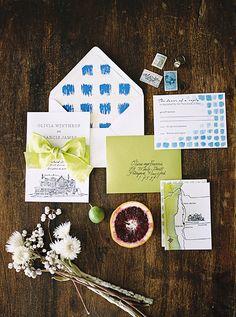 blue and green wedding invitations photo by Alexandra Elise Photography http://ruffledblog.com/lake-house-bridal-inspiration