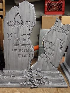 "Outstanding broken cemetery tombstone (foam) by HF member weaz! ""Oh how wrong we were, to think immortality ever meant anything"". Halloween Prop, Halloween Outside, Halloween Graveyard, Halloween Yard Decorations, Outdoor Halloween, Halloween House, Holidays Halloween, Halloween Forum, Tombstones For Halloween"