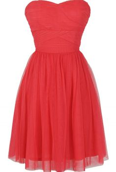 Fairy Tulle Strapless Dress by Ark and Co in Watermelon Coral  www.lilyboutique.com