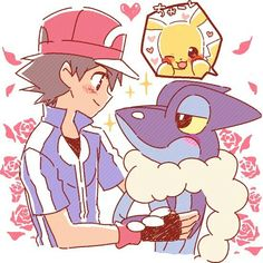 Ash Ketchum with his Pikachu and his Frogadier ^.^ ♡ I give good credit to whoever made this