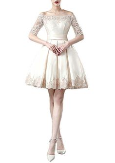 DreamMade Womens Baute Half Sleeve Knee Length ALine Bridesmaid Wedding Dresses ** You can find more details by visiting the image link.