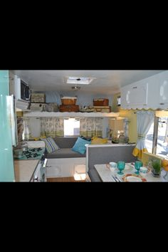 Vintage Camper blue & yellow ♥  (I'm not crazy about yellow, but I think it makes it not only brighter but feel less cramped.)