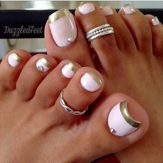 """678 Likes, 31 Comments - Pedicuress (@pedicuress) on Instagram: """"White and gold French:)"""""""