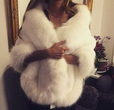 Winter White Cape with Faux Fur Trimming
