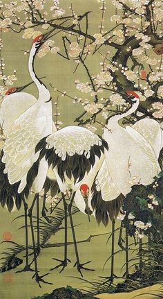 (Do not waste smell times) Figure group cranes 梅花 Jakuchu Period, from Tokyo National Museum exhibition, Treasures of the Imperial (first term) -- click image for more beautiful prints: