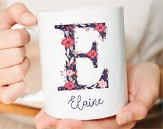 Monogram Mug Letter Mug Initial Mug Personalized Christmas image 2 Personalized Christmas Mugs, Personalised Gifts For Friends, Personalized Coffee Mugs, Customised Mugs, Custom Mugs, Customized Gifts, Letter Mugs, Name Mugs, Mug Art