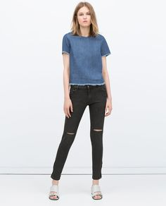 ZARA - WOMAN - MID-RISE COATED JEANS