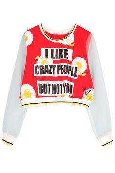 Stylish Organza Paneled Cropped Sweatshirt