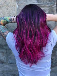Vivid Hair Color, Hot Hair Colors, Hair Color Purple, Hair Color And Cut, Balayage Long Hair, Purple Balayage, Hair Color Balayage, Fuschia Hair, Short Purple Hair