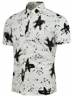 Prezzi e Sconti: #Buttoned splashed ink pattern shirt  ad Euro 20.61 in #Men #Moda