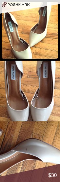 Steve Madden Pumps Worn once - tan color, patent leather material. Steve Madden Shoes Heels