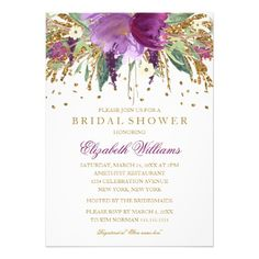 Floral Glitter Gold Purple Plum Sparkling Amethyst Bridal Shower Invite Announcement Invitations   #bridalshower