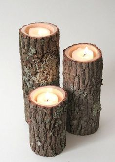 Tree Branch Candle Holders I- Rustic Wood Candle Holders, Tree Bark, Wooden Candle Holders from WorleysLighting on Etsy. Saved to Furniture Square. Rustic Candle Holders, Candle Holder Set, Rustic Candles, Led Candles, Cool Candles, Incense Holder, White Candles, Rustic Wood, Rustic Decor