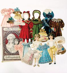 Paper doll dress and hat, reprint box carton dressed dolls, reprint