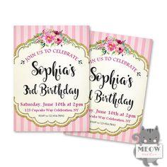 Shabby Chic Girl's Birthday Invitations 1st 2nd 3rd