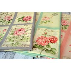 RuRu Rose Postcards panel Rose, Postcards, Fabrics, Textiles, Quilts, Pattern, Pink, Comforters, Roses