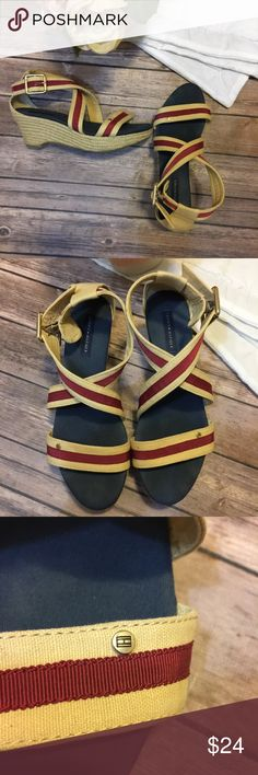 "Tommy Hilfiger | Strappy Wedge Size 8 Great used condition! Straps are functional and the soles are in great condition. 2.5"" wedge Tommy Hilfiger Shoes Wedges"